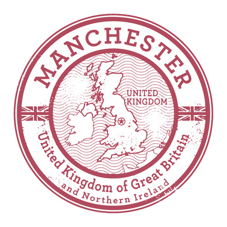 Grunge rubber stamp with words United Kingdom, Manchester inside, vector illustration 向量圖像