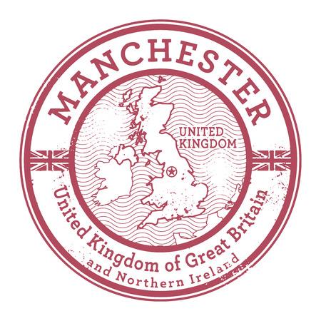 manchester: Grunge rubber stamp with words United Kingdom, Manchester inside, vector illustration Illustration