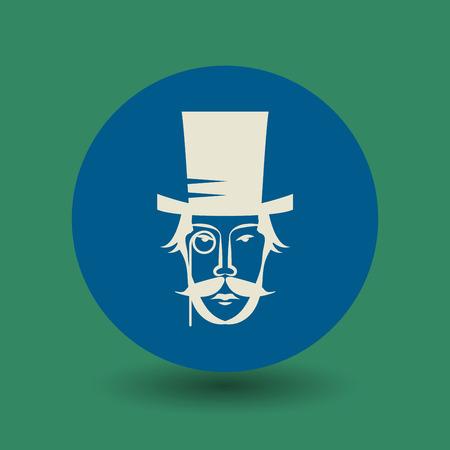 snobby: Faccia Vintage con cappello e baffi icona o segno, illustrazione vettoriale Vettoriali