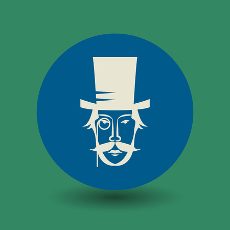 snobby: Vintage face with hat and mustache icon or sign, vector illustration