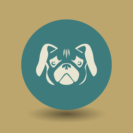 pug dog: Pug dog icon or sign, vector illustration