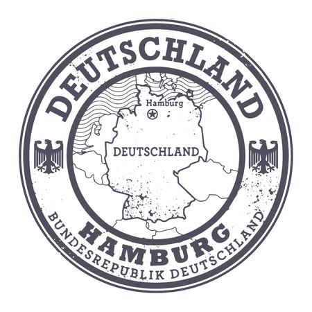 hamburg: Grunge rubber stamp with words Deutschland, Hamburg inside, vector illustration