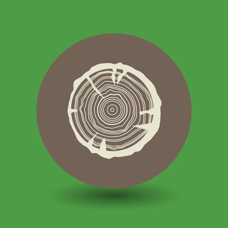 wood cross section: Growth rings icon or sign, vector illustration