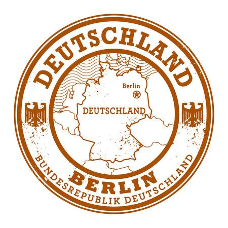 Grunge rubber stamp with words Deutschland, Berlin inside, vector illustration