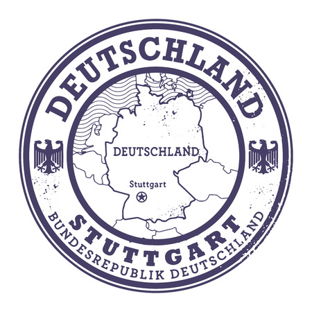 stuttgart: Grunge rubber stamp with words Deutschland, Stuttgart inside, vector illustration