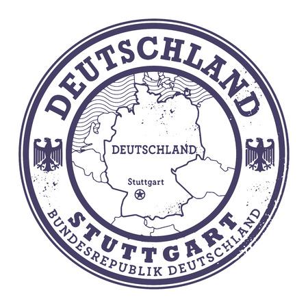 deutschland: Grunge rubber stamp with words Deutschland, Stuttgart inside, vector illustration