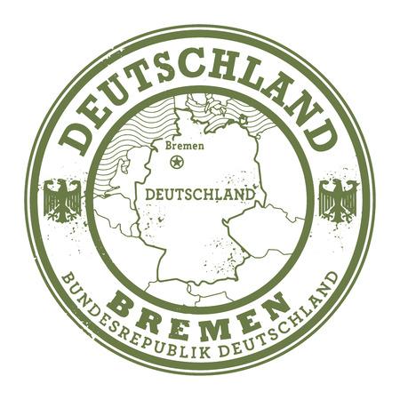 bremen: Grunge rubber stamp with words Deutschland, Bremen inside, vector illustration Illustration