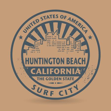 huntington beach: Grunge rubber stamp with name of Huntington Beach, California, vector illustration Illustration