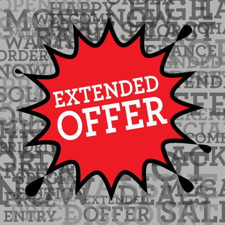 estendido: Comic book explosion with text Extended Offer, vector illustration