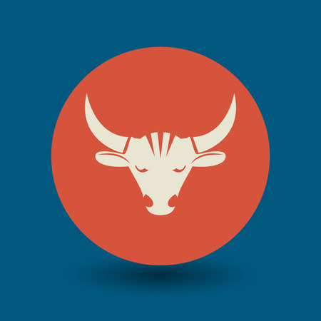farm sign: Bull icon or sign, vector illustration