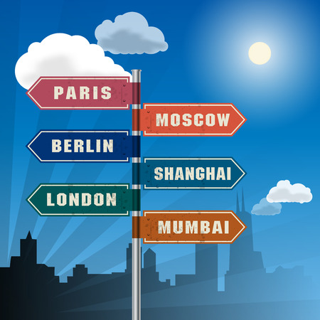 Road sign with words Paris, Berlin, London, Moscow, Shanghai and Mumbai, vector illustration Vector