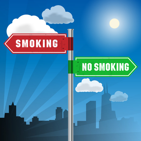 Road sign with words Smoking, No Smoking, vector illustration Vector