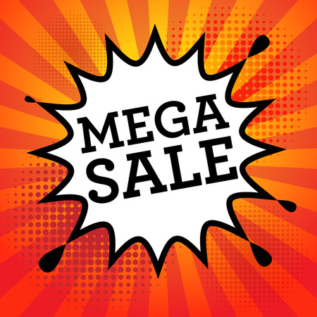 mega sale: Comic book explosion with text Mega Sale, vector illustration