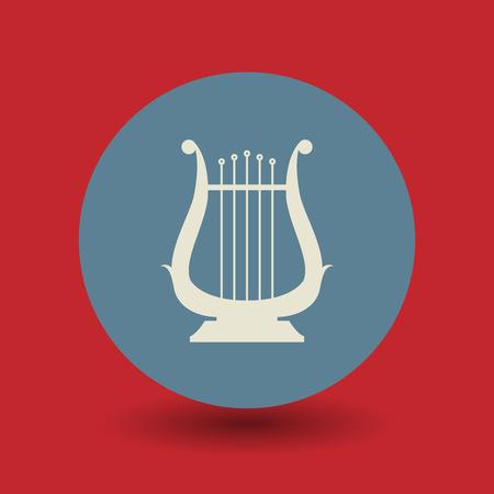 chanteur opéra: Lyre icône ou signe, illustration vectorielle