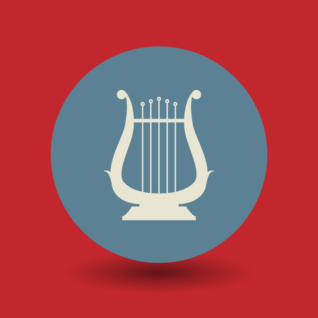 lyre: Lyre icon or sign, vector illustration Illustration