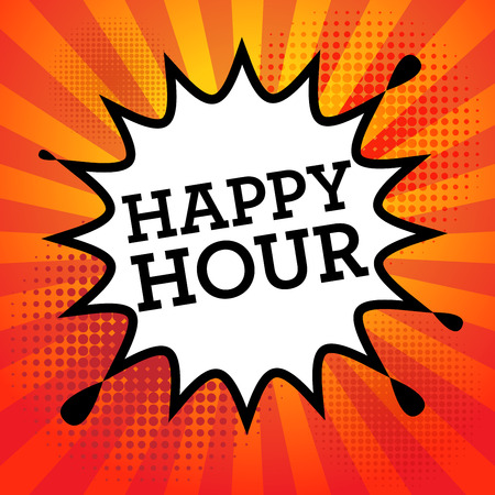 happy hours: Comic book explosion with text Happy Hour, vector illustration
