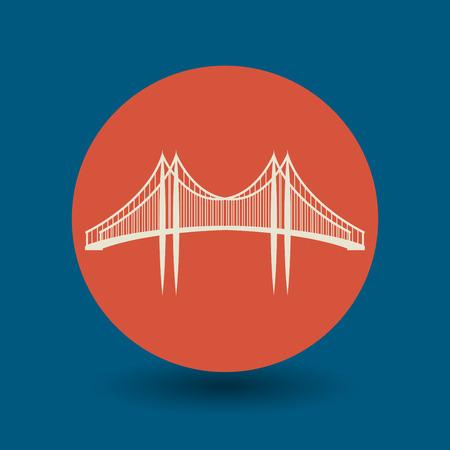 rope bridge: Bridge icon or sign, vector illustration