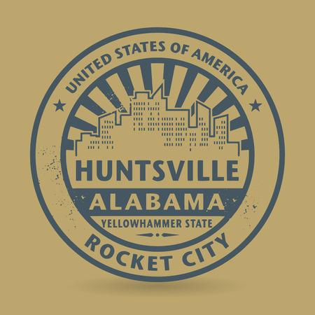 alabama: Grunge rubber stamp with name of Huntsville, Alabama, vector illustration
