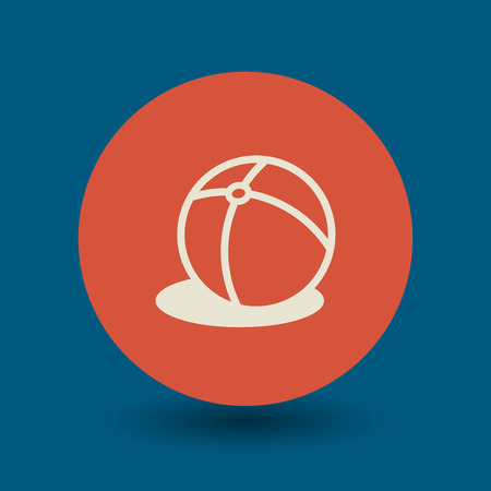 balon voleibol: Icono del bal�n de playa o signo, ilustraci�n vectorial