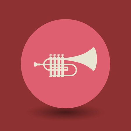 clarinet player: Trumpet icon or sign, vector illustration