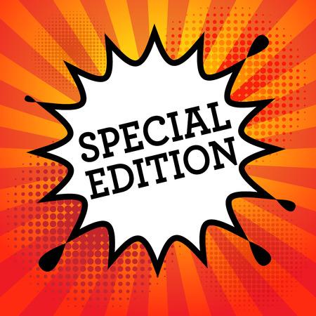 edizione straordinaria: Esplosione del libro di fumetti con il testo Special Edition, illustrazione vettoriale Vettoriali