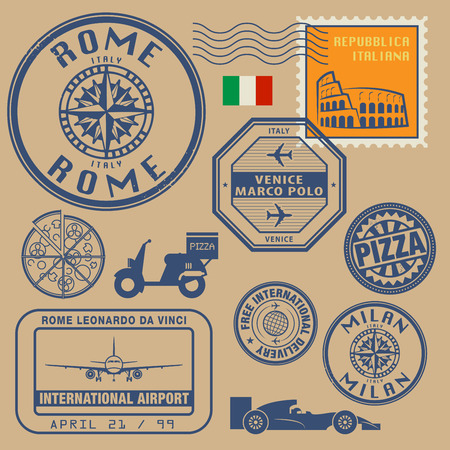 Travel stamps set, vector illustration Vector