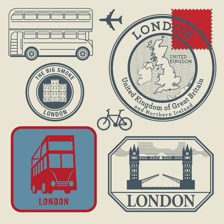 Travel stamps set, London, vector illustration Vector