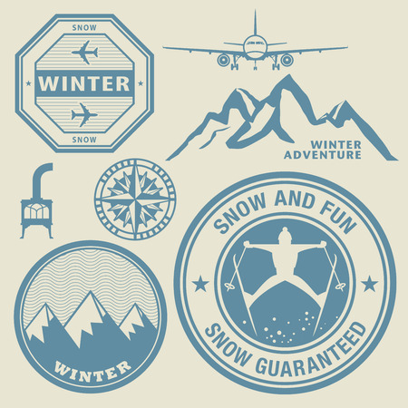 certificated: Winter theme stamps or labels set, vector illustration
