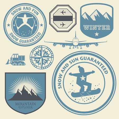 ski jump: Winter theme stamps or labels set, vector illustration