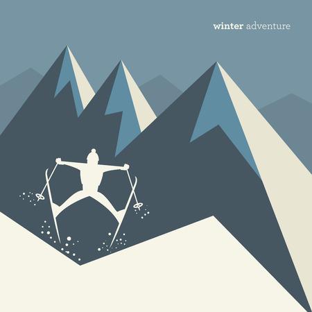 ski jump: Winter mountain adventure background, vector illustration