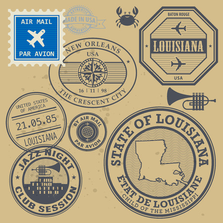 Post stamps set with name of Louisiana, New Orleans Vector