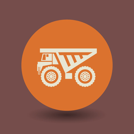 over sized: Dump truck icon or sign, vector illustration