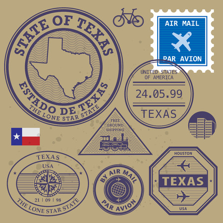 Stamp set with name and map of Texas, USA Vector