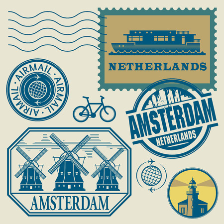 Stamps set with words Netherlands, Amsterdam inside, vector illustration Vector