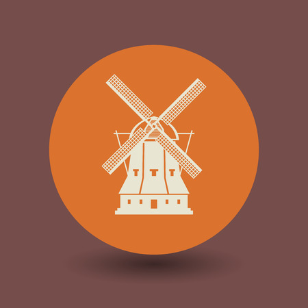 abstract mill: Windmill icon or sign, vector illustration Illustration