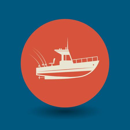 boat motor: Motor boat icon or sign, vector illustration