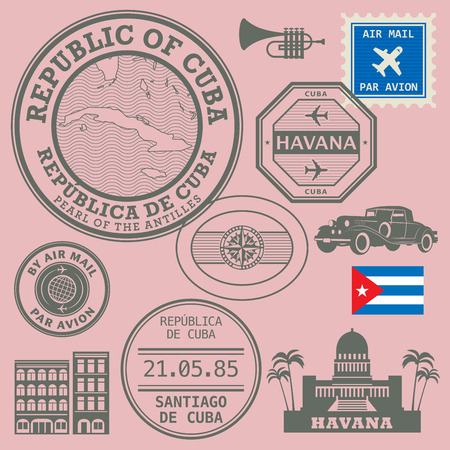 havana: Travel stamps set, vector illustration