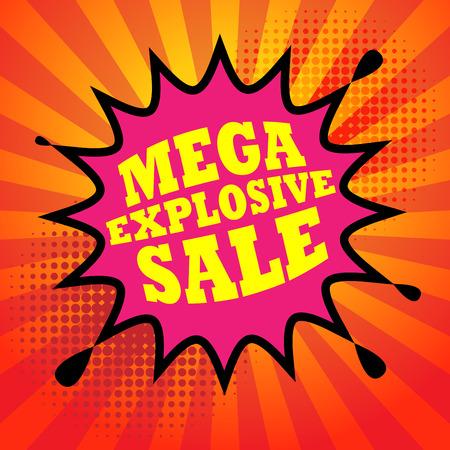 bomb price: Comic book explosion with text Mega Explosive Sale, vector illustration Illustration