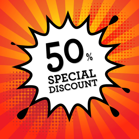 sale tags: Comic book explosion with text Special Discount, vector illustration