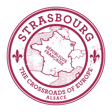 strasbourg: Grunge rubber stamp with words Strasbourg, France inside, vector illustration