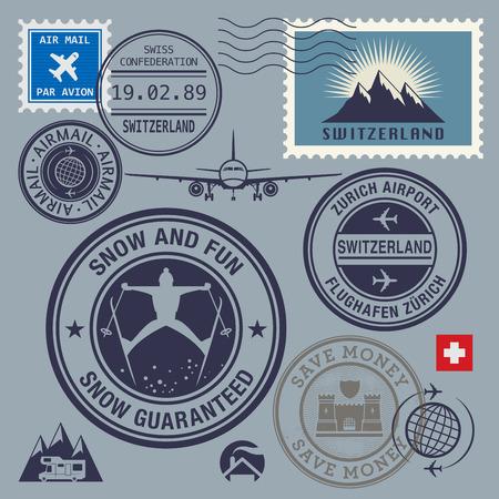 alpes suizos: Suiza sellos tem�ticos o establecer etiquetas, ilustraci�n vectorial Vectores
