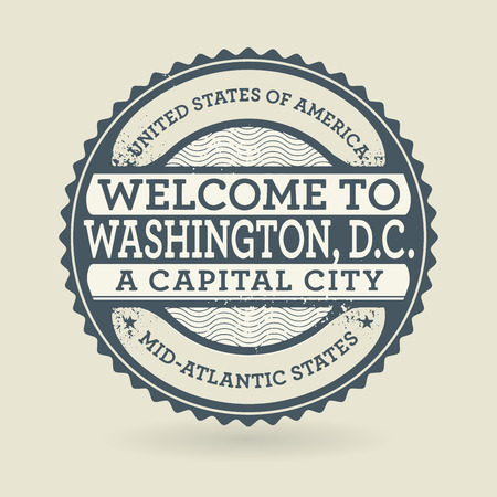 washington dc: Grunge rubber stamp with text Welcome to Washington, D.C., USA, vector illustration