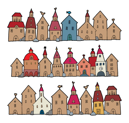 small town life: Cartoon hand drawing houses Illustration
