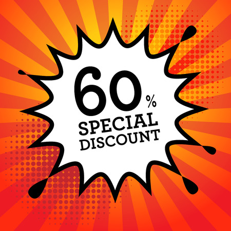 sale off: Explosion with text 60 percent, Special Discount, vector illustration Illustration
