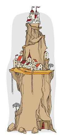 fairy: Cartoon village, fairy tale, vector Illustration