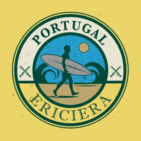 surfer vector: Abstract surfer stamp or sign, vector illustration