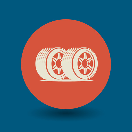 winter tires: Car wheel icon or sign, vector illustration