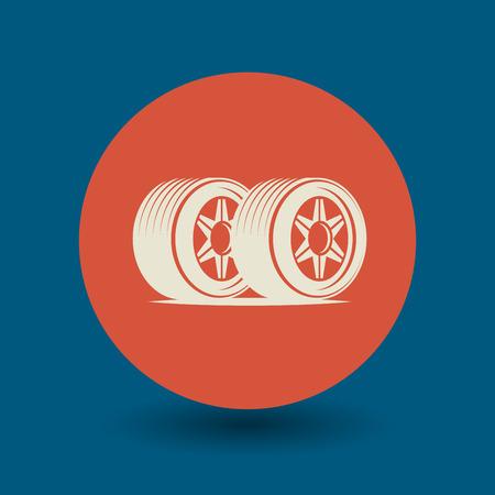durability: Car wheel icon or sign, vector illustration