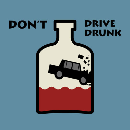 cartoon accident: Dont drive drunk, vector illustration Illustration
