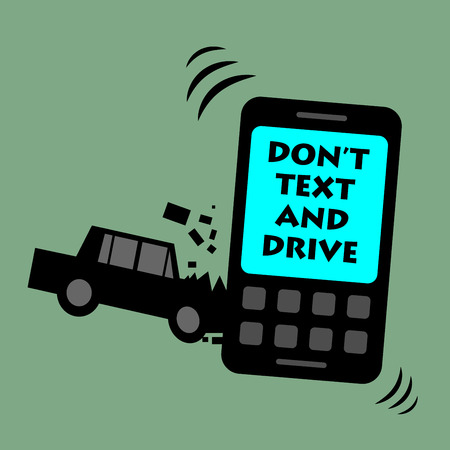 unsafe: Dont text and drive, vector illustration